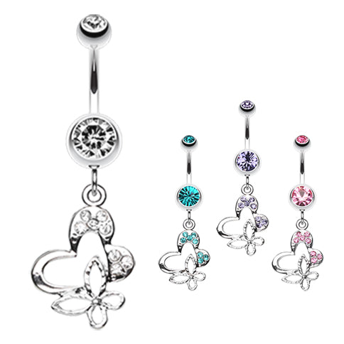 Butterfly Fusion Belly Dangle - Dangling Belly Ring. Navel Rings Australia.