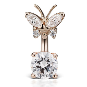 Maria Tash Butterfly Topped Solitaire Belly Ring in 14K Rose Gold - Fixed (non-dangle) Belly Bar. Navel Rings Australia.