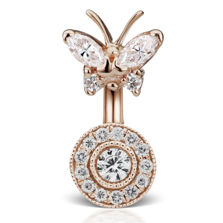 Genuine Rose Gold Diamond Butterfly and Ice Paved Belly Ring - Fixed (non-dangle) Belly Bar. Navel Rings Australia.