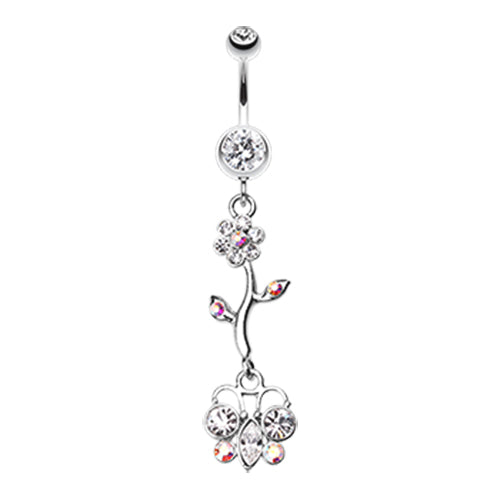 Dangling Belly Ring. Navel Rings Australia. Summer Daisy Butterfly Belly Dangly