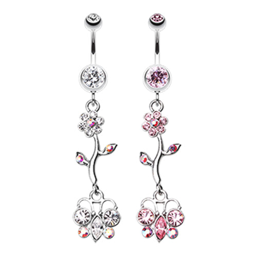 Summer Daisy Butterfly Belly Dangly - Dangling Belly Ring. Navel Rings Australia.