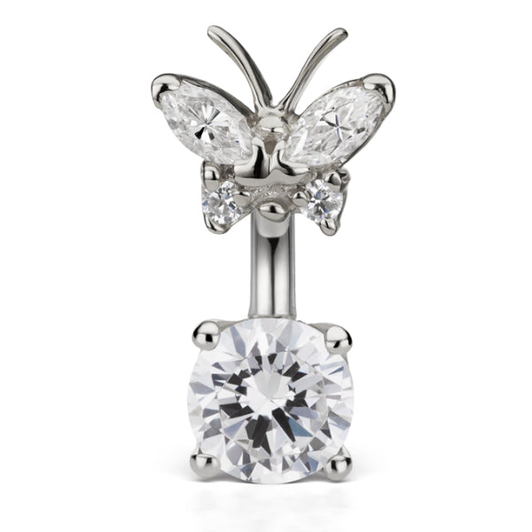 Maria Tash Butterfly Topped Solitaire Belly Ring in 14K White Gold - Fixed (non-dangle) Belly Bar. Navel Rings Australia.