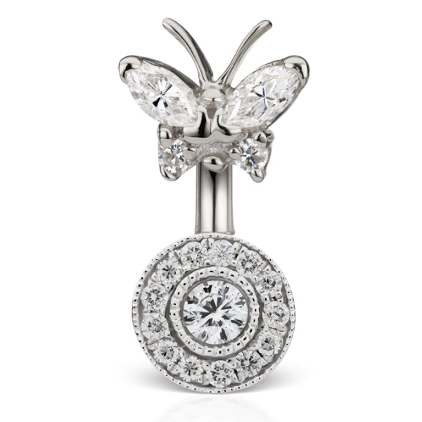 Genuine Diamond Butterfly and Ice Paved Belly Ring - Fixed (non-dangle) Belly Bar. Navel Rings Australia.