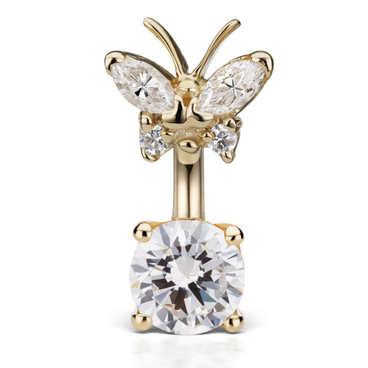 Maria Tash Butterfly Topped Solitaire Belly Ring in 14K Yellow Gold - Fixed (non-dangle) Belly Bar. Navel Rings Australia.