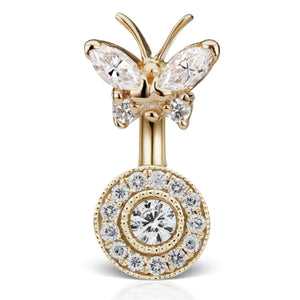 Genuine Gold Diamond Butterfly and Ice Paved Belly Ring - Fixed (non-dangle) Belly Bar. Navel Rings Australia.