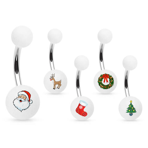 Basic Curved Barbell. High End Belly Rings. Cartoon Christmas Belly Button Rings