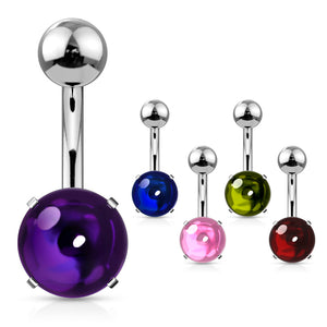 Cabochon Stone Belly Button Rings - Basic Curved Barbell. Navel Rings Australia.