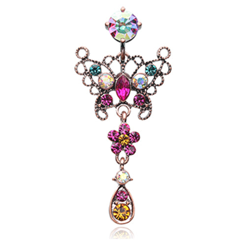 Candy Bohéme Reverse Butterfly Belly Ring - Reverse Top Down Belly Ring. Navel Rings Australia.