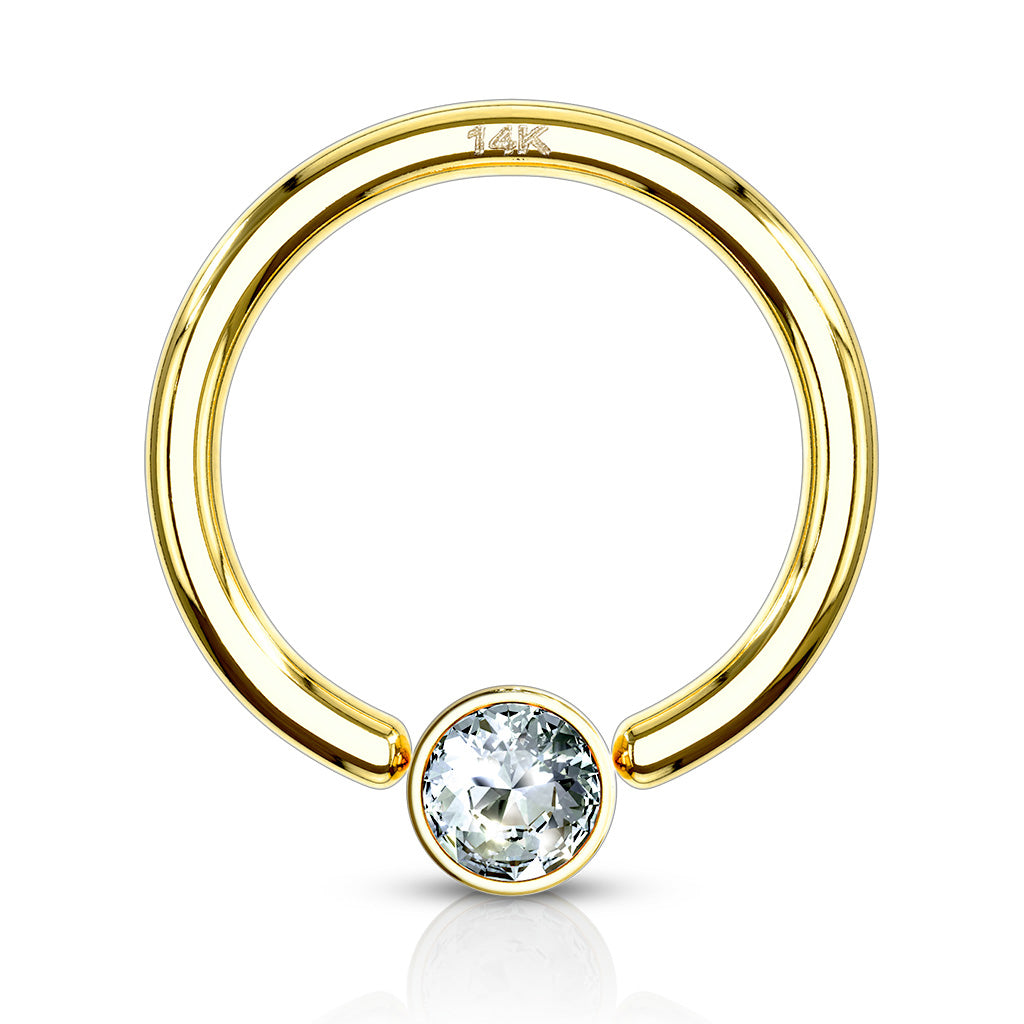 14K Gold Captive Bezel Diamanté Body Jewellery - Captive Belly Ring. Navel Rings Australia.