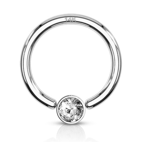 Captive Belly Ring. Belly Bars Australia. 14K White Gold Captive Bezel Diamanté Body Jewellery