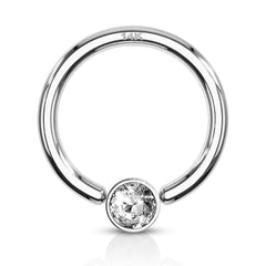 14K White Gold Captive Bezel Diamanté Body Jewellery