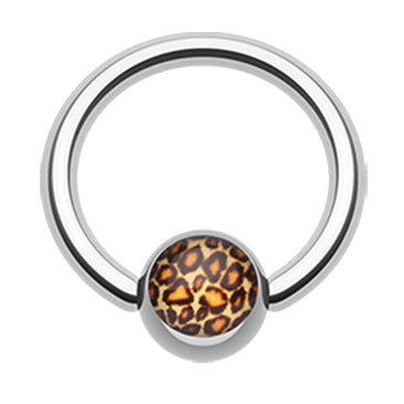 Leopard Print Captive Belly Ring - Captive Belly Ring. Navel Rings Australia.