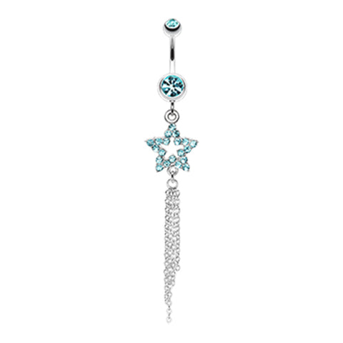 Aquamarine Star Dusted Chains Belly Dangle