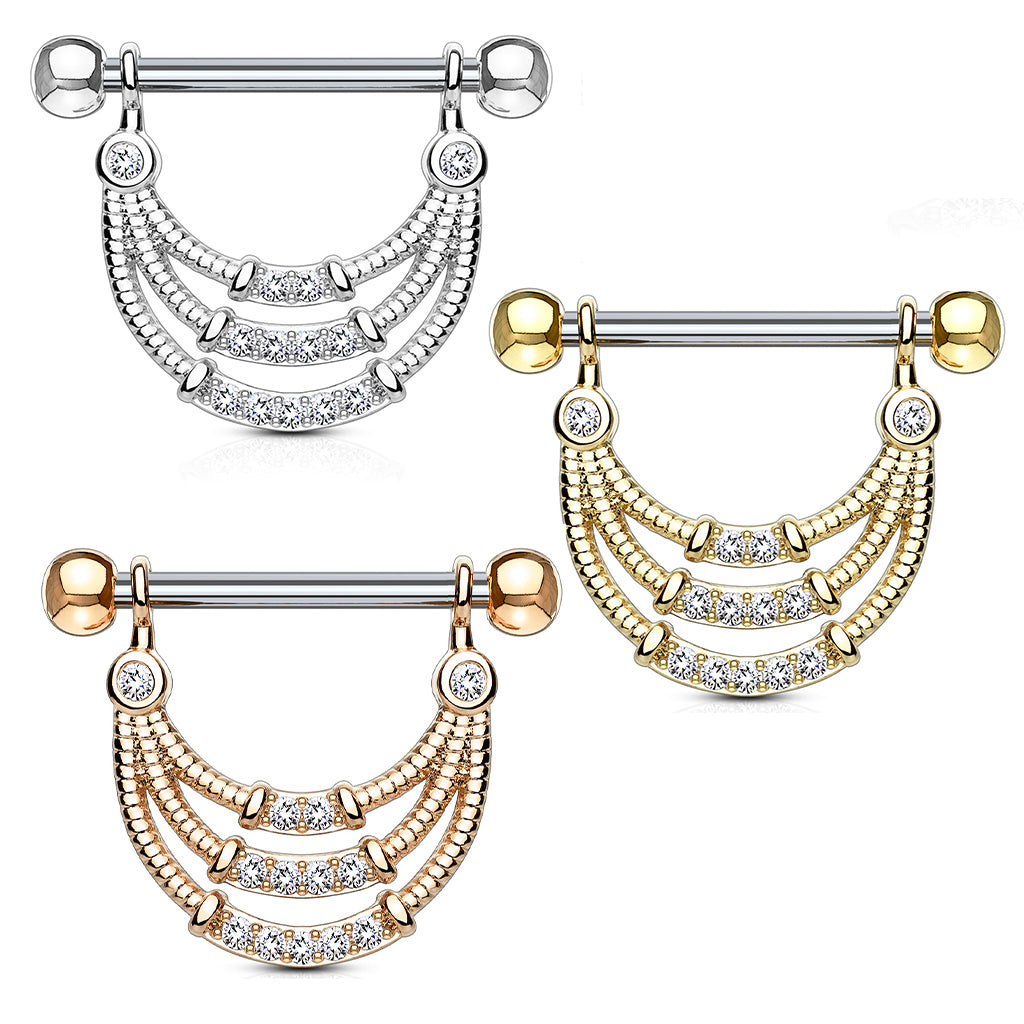Nipple Ring. Quality Belly Rings. Seductive Temptress Chain Nipple Bar