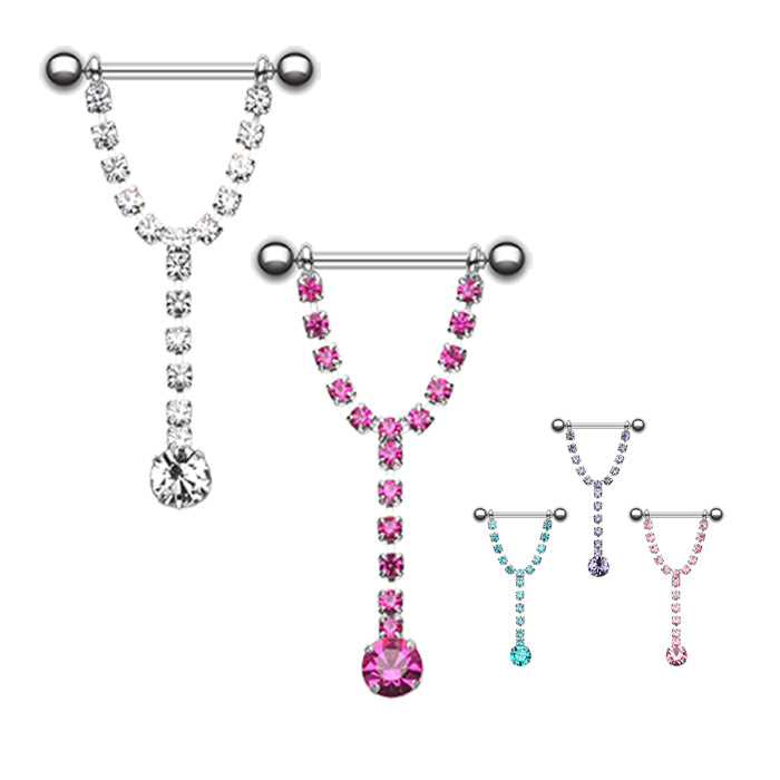 Chandelier Drop Nipple Barbell Ring - Nipple Ring. Navel Rings Australia.