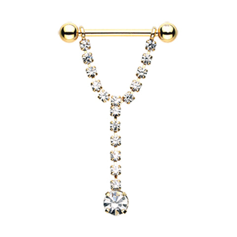 Nipple Ring. Cute Belly Rings. Chandelier Drop Nipple Barbell Ring in Gold
