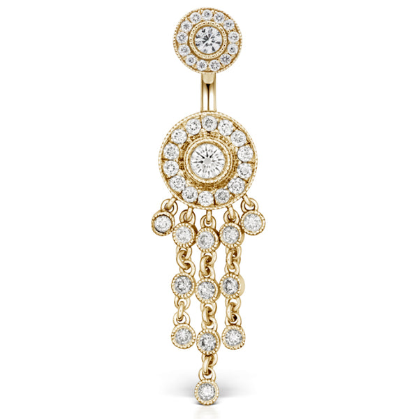 Yellow Gold Diamond Ice Pave Belly Ring with Authentic Diamond Chandelier - Dangling Belly Ring. Navel Rings Australia.