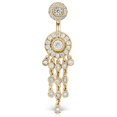 Dangling Belly Ring. High End Belly Rings. Yellow Gold Diamond Ice Pave Belly Ring with Authentic Diamond Chandelier