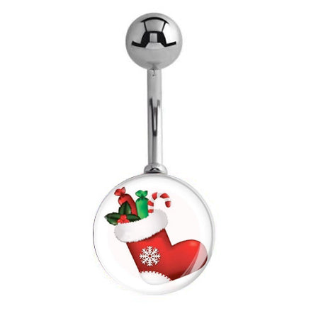 Candy Christmas Stocking Belly Piercing Rings - Basic Curved Barbell. Navel Rings Australia.