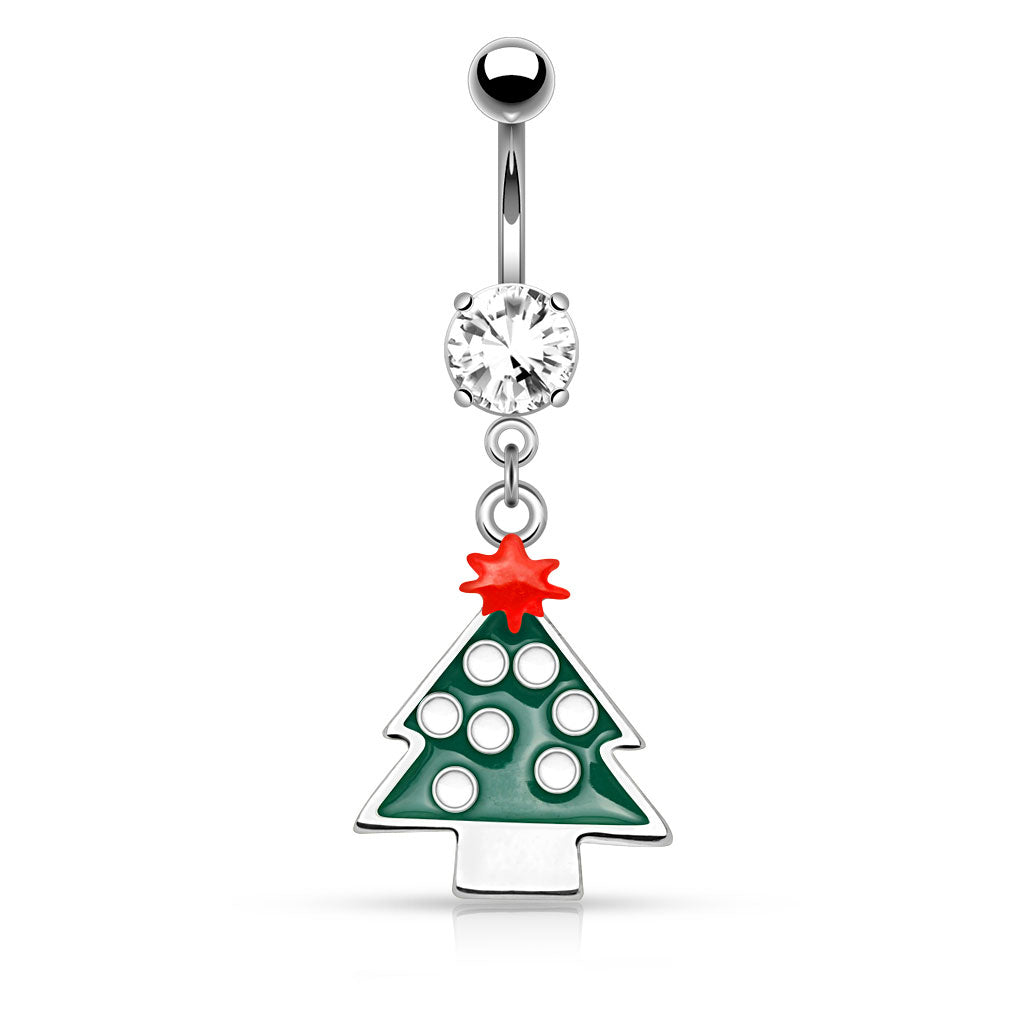 Christmas Tree Belly Piercing Ring - Dangling Belly Ring. Navel Rings Australia.