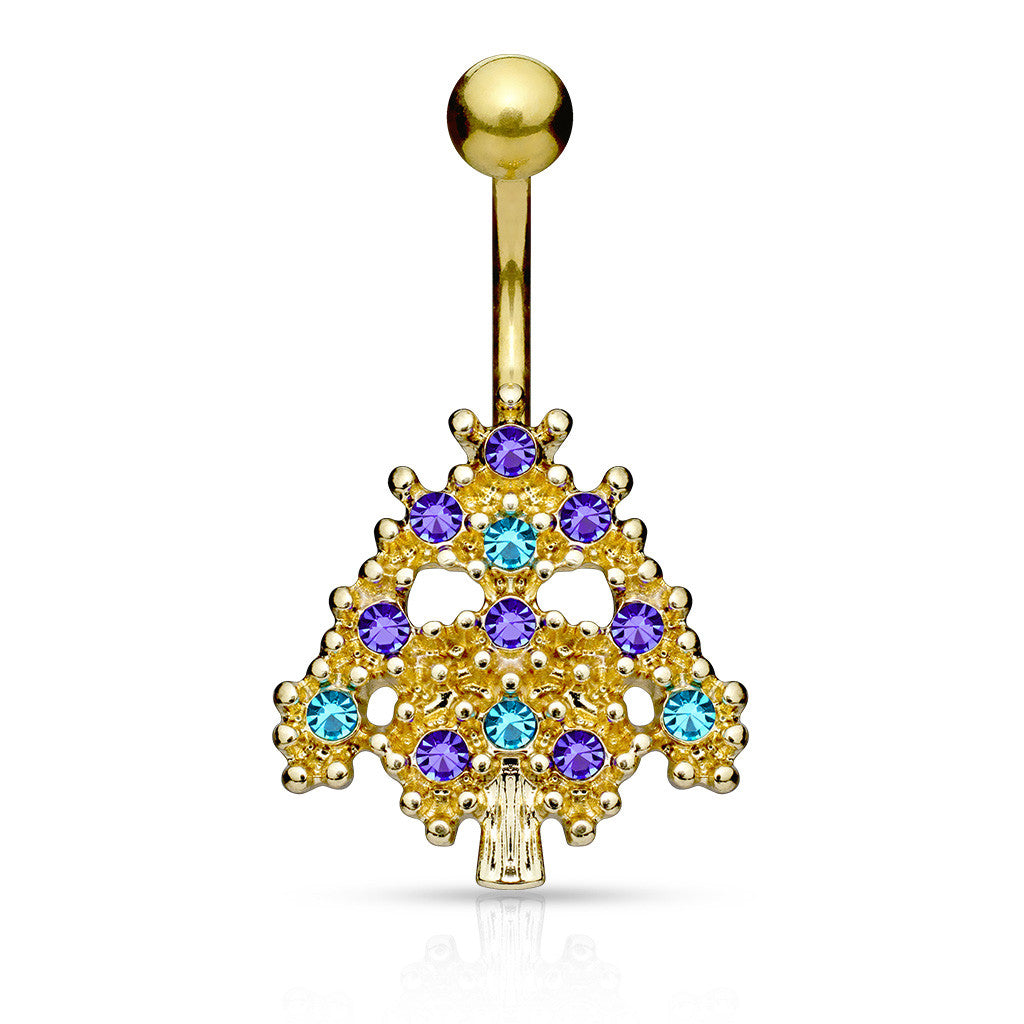 Wild Bells Christmas Tree Belly Bar - Fixed (non-dangle) Belly Bar. Navel Rings Australia.
