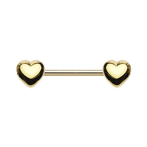 Nipple Ring. Belly Bars Australia. Classic Heart Nipple Body Jewellery in Gold