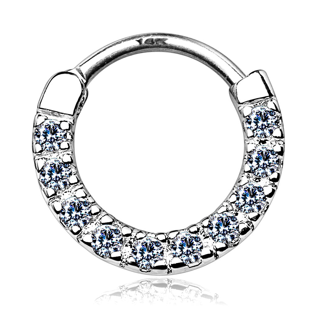 Classic Gem Pave Septum & Daith Hoop in White Gold - Septum. Navel Rings Australia.