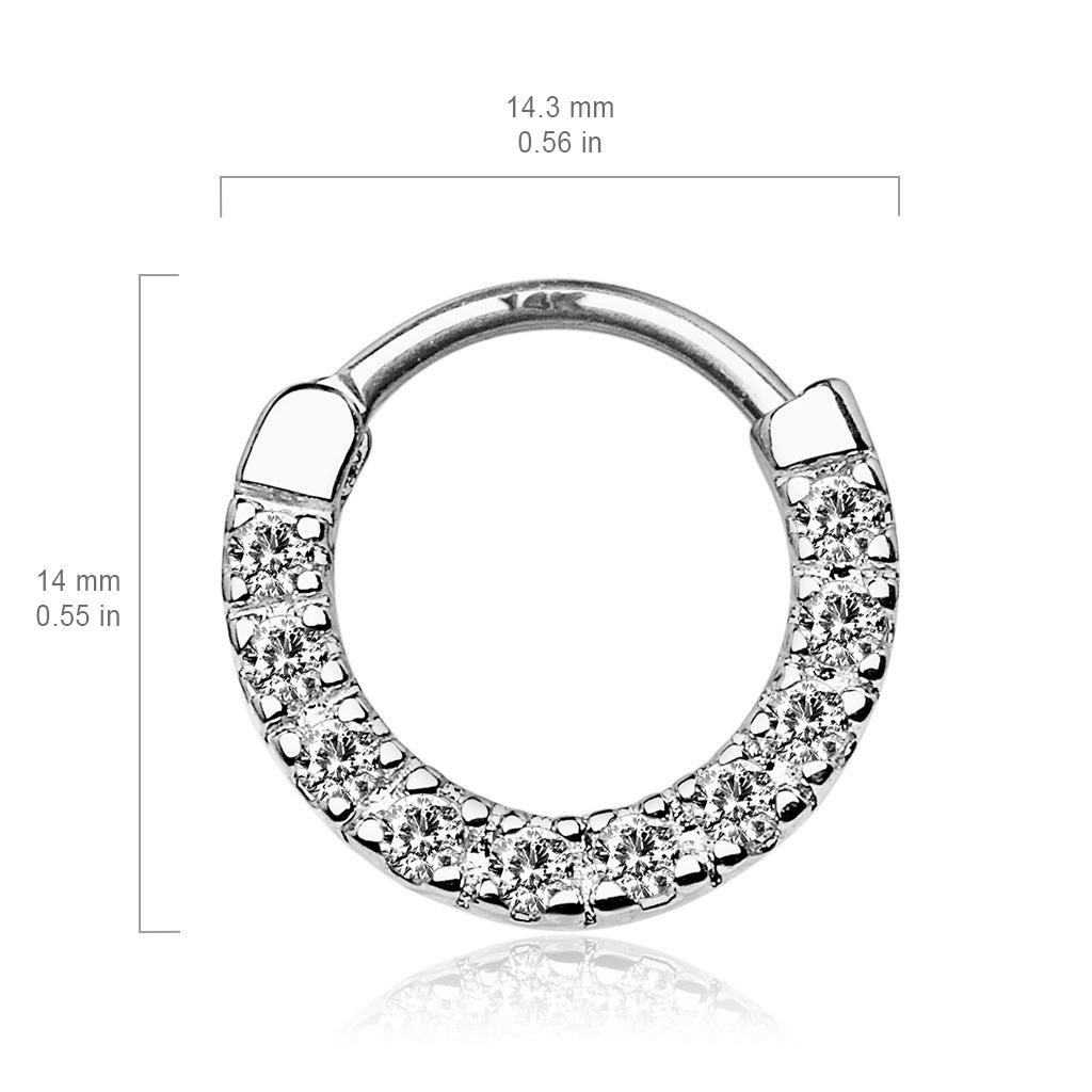 Septum. Belly Rings Australia. Classic Gem Pave Septum & Daith Hoop in White Gold