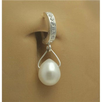 TummyToys® Patented Clasp. Buy Belly Rings. TummyToys® Classic Pearl Teardrop Navel Jewellery