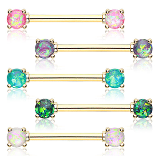 Gold Classic Opal Prong Nipple Barbell Ring - Nipple Ring. Navel Rings Australia.