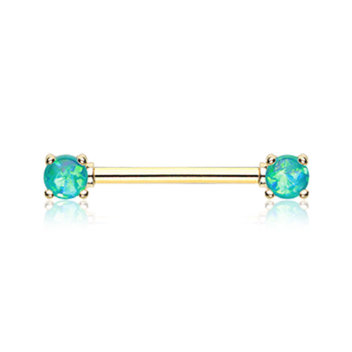 Nipple Ring. High End Belly Rings. Gold Classic Opal Prong Nipple Barbell Ring