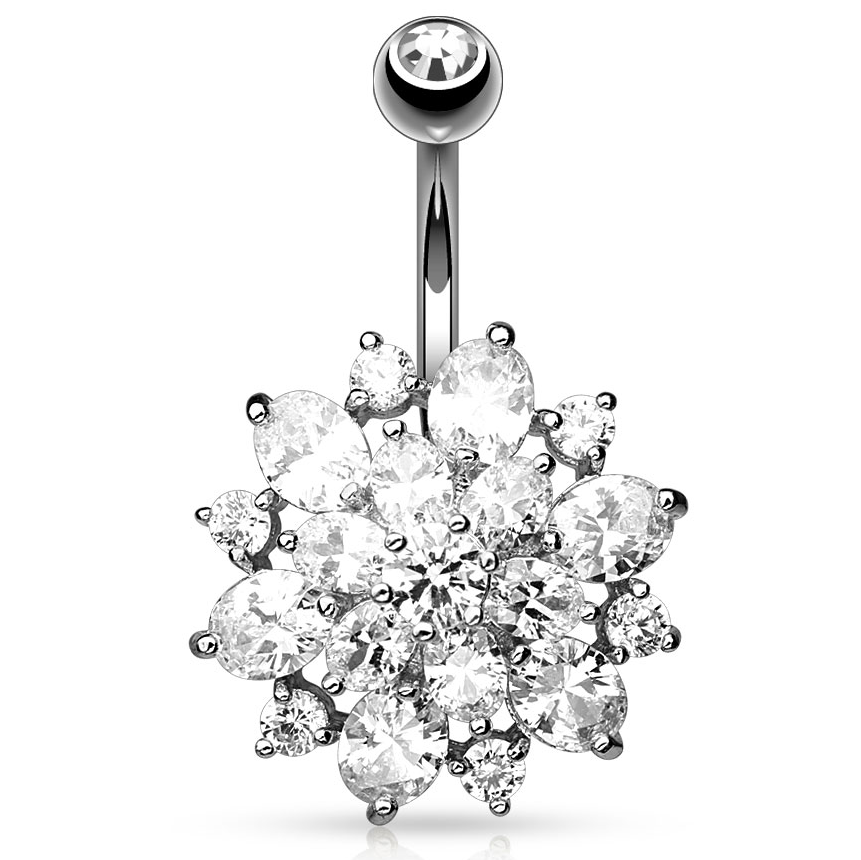 Mexican Dahlia Navel Piercing Bar - Fixed (non-dangle) Belly Bar. Navel Rings Australia.