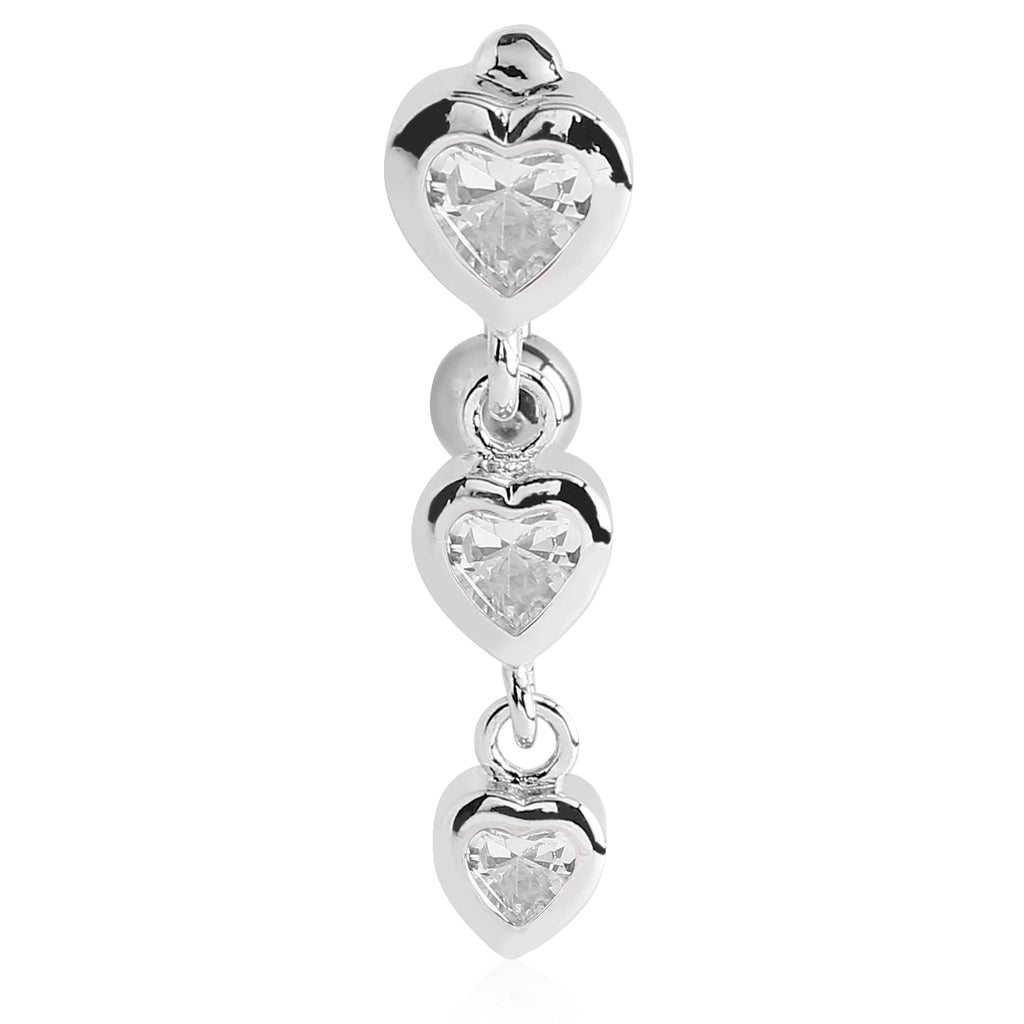 Reverse Top Down Belly Ring. Cute Belly Rings. Bellè Heart Drop Belly Button Ring