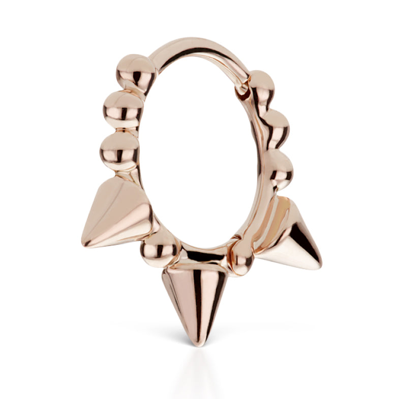 Granulated Triple Spike Earring by Maria Tash in Rose Gold - Earring. Navel Rings Australia.