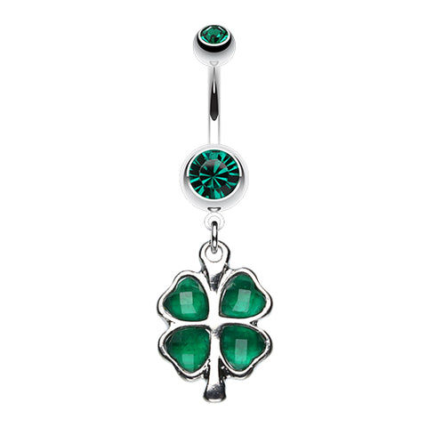 Emerald Lucky Charm Shamrock Belly Ring