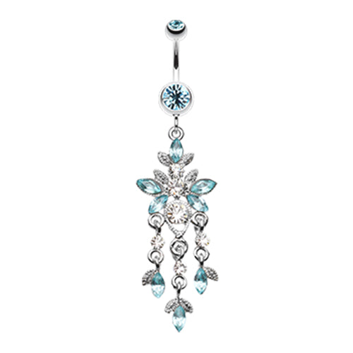 Dangling Belly Ring. Navel Rings Australia. Cluster Chandelier Navel Ring