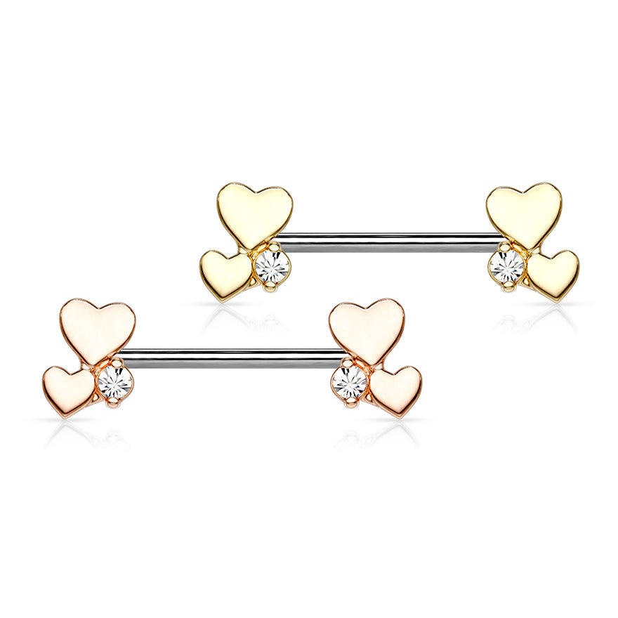 Nipple Ring. Quality Belly Rings. Rose Gold Lovers Combined Nipple Jewellery
