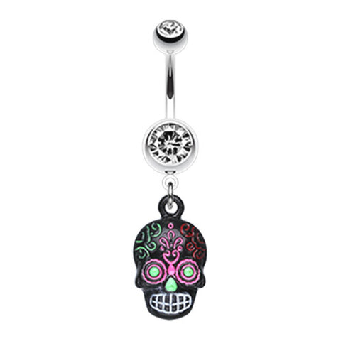 Dangling Belly Ring. Quality Belly Bars. Psychedelic Mayan Skull Navel Bar