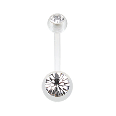 Basic Curved Barbell. Quality Belly Bars. Ultra Comfort Glam Bio Flex Belly Rings