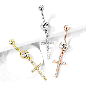 Adriel's Glittering Cross Belly Ring - Dangling Belly Ring. Navel Rings Australia.