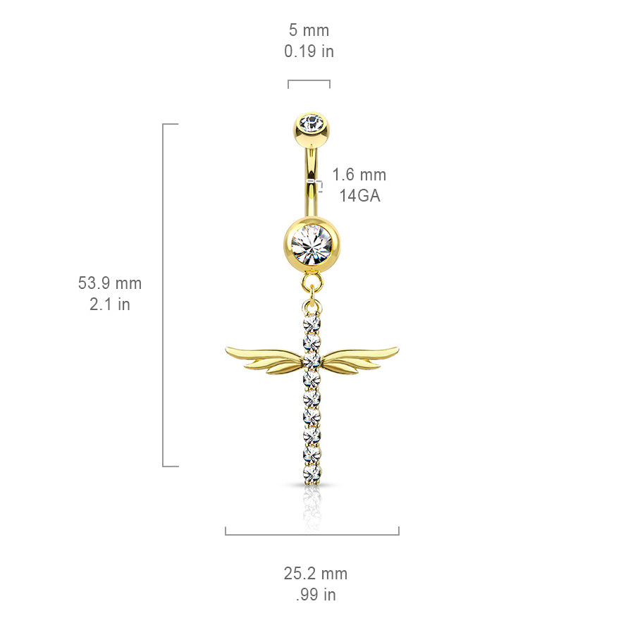 Dangling Belly Ring. Buy Belly Rings. Winging It Cross Belly Dangle in Gold