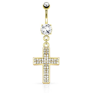 Galilee Cross Navel Ring in Gold - Dangling Belly Ring. Navel Rings Australia.