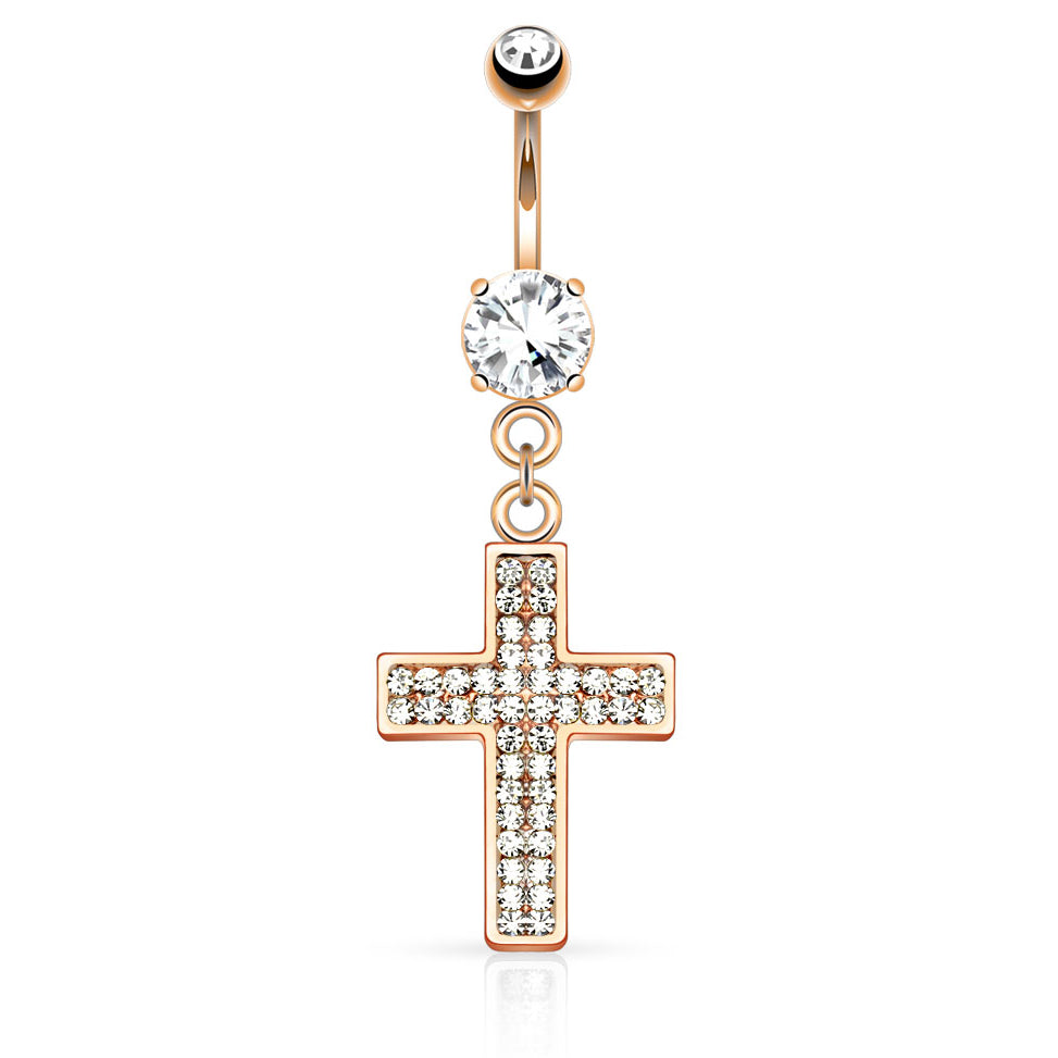 Galilee Cross Navel Ring in Rose Gold - Dangling Belly Ring. Navel Rings Australia.