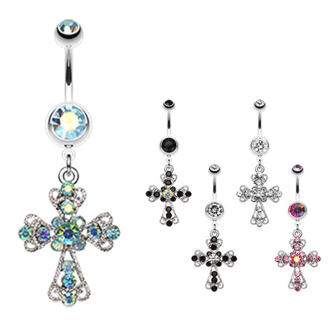 Dangling Belly Ring. Buy Belly Rings. Vintage Cross Patonce Navel Bar