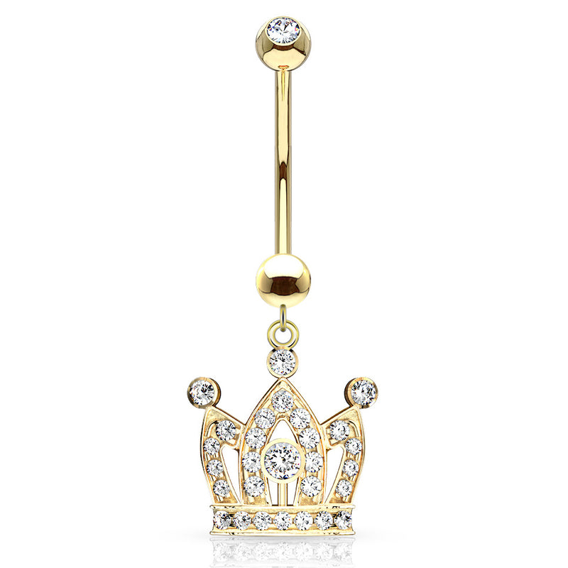 Q.U.E.E.N Crown Belly Dangle in 14K Gold - Dangling Belly Ring. Navel Rings Australia.
