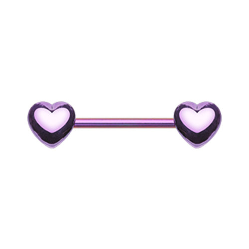 Crushin' Purple Hearts Nipple Barbell - Nipple Ring. Navel Rings Australia.