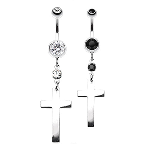 Classic Steel Cross Navel Ring - Dangling Belly Ring. Navel Rings Australia.