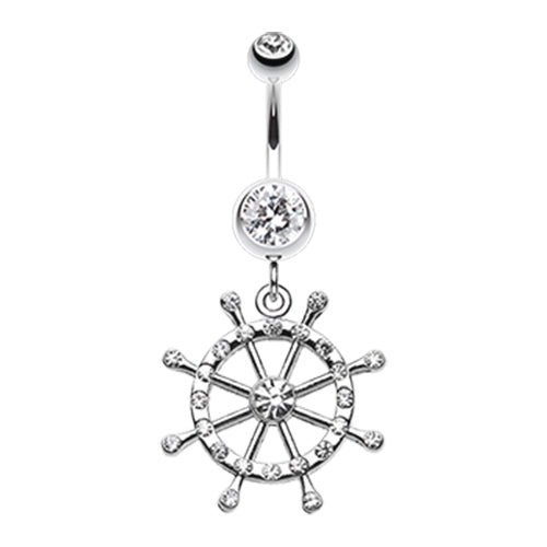 Dangling Belly Ring. Quality Belly Bars. Caribbean Boat Wheel Belly Dangle