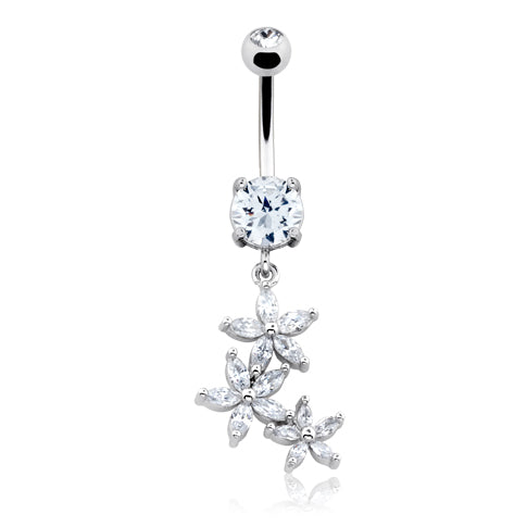 La La Daisy Dangle Belly Bar - Dangling Belly Ring. Navel Rings Australia.