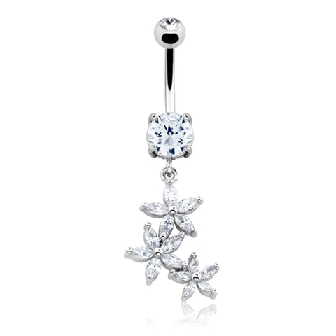 Dangling Belly Ring. Belly Bars Australia. La La Daisy Dangle Belly Bar
